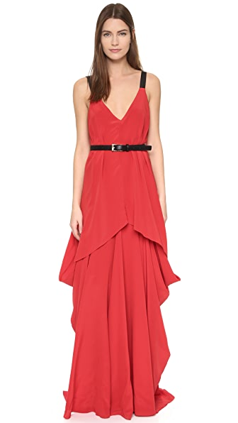 Vera Wang Collection Deep V Neck Draped Gown
