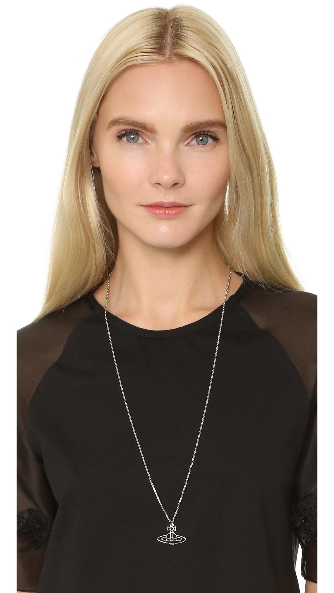 19c5f56f3b1c93 Vivienne Westwood Thin Lines Flat Orb Pendant Necklace | SHOPBOP