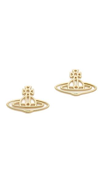 Vivienne Westwood Thin Lines Flat Orb Stud Earrings