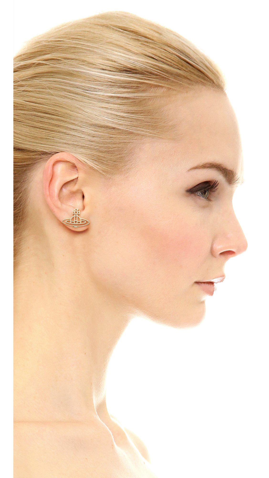 b242b2f13 Vivienne Westwood Thin Lines Flat Orb Stud Earrings | SHOPBOP