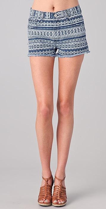 Washborn Geometric Print Denim Shorts