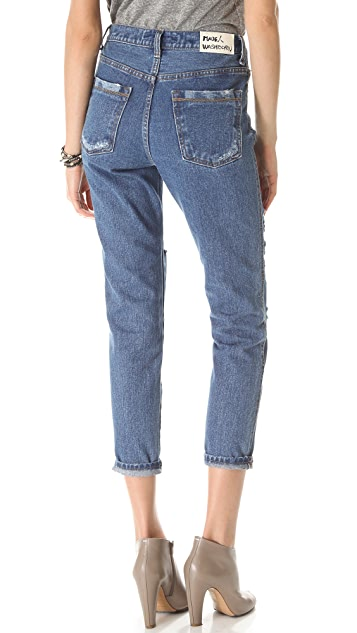 Washborn Destroyed Boyfriend Jeans with Floral Patches