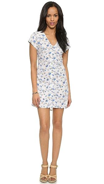 WAYF Button Front Floral Dress