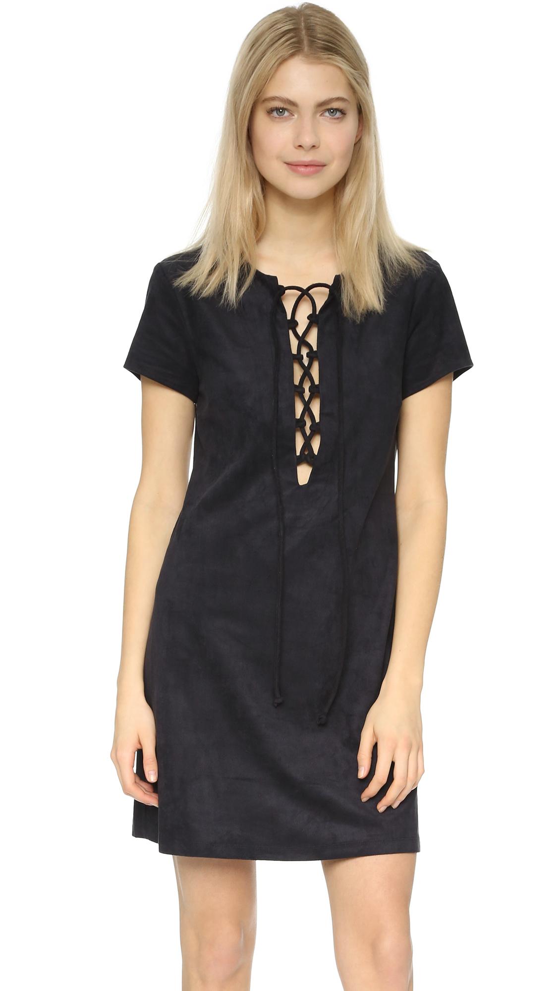 Wayf Faux Suede Lace Up Shift Dress Shopbop