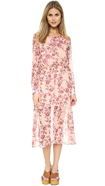 WAYF Peasant Midi Dress