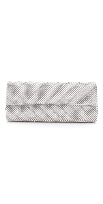 Whiting & Davis Crystal Chevron Flap Clutch