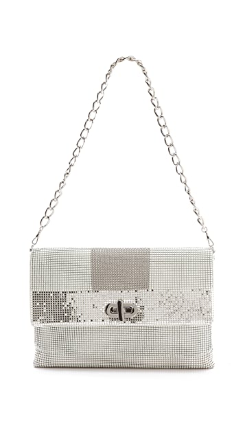 Whiting & Davis Graphic Mixed Mesh Clutch