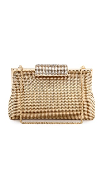 Whiting & Davis Crystal Clasp Clutch - Gold