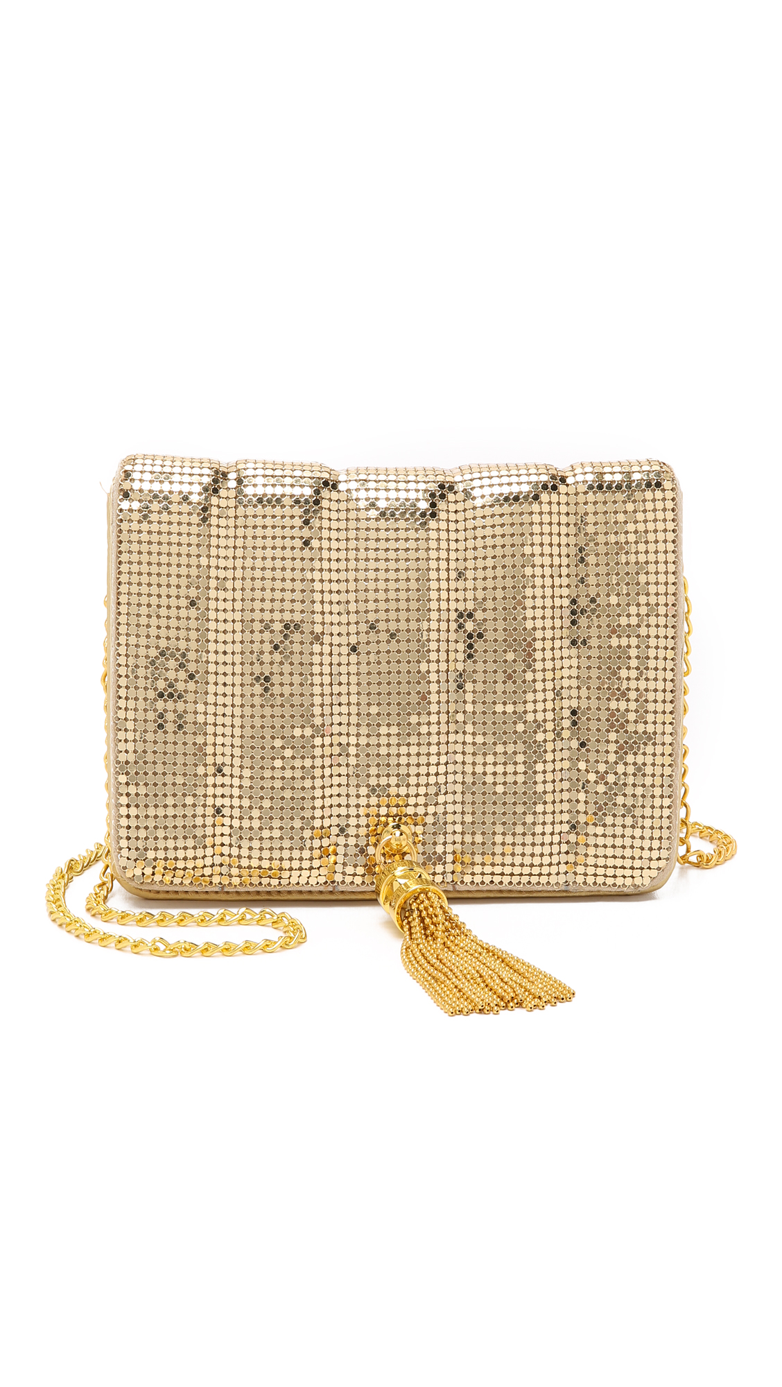 Whiting & Davis Quilted Tassel Bag - Gold