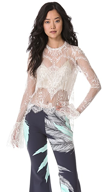 Wes Gordon Sheer Lace Wing Blouse