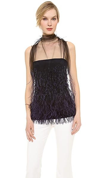 Wes Gordon Feathered Flou Top