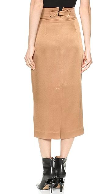 Wes Gordon Buckled High Waist Pencil Skirt