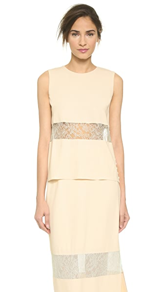 Wes Gordon Banded Lace Shell - Cream