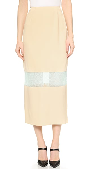 Wes Gordon Banded Lace Skirt