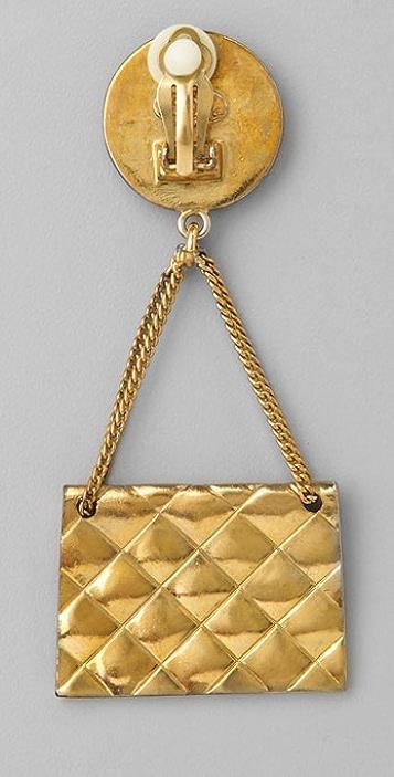 WGACA Vintage Vintage Chanel Bag Earrings