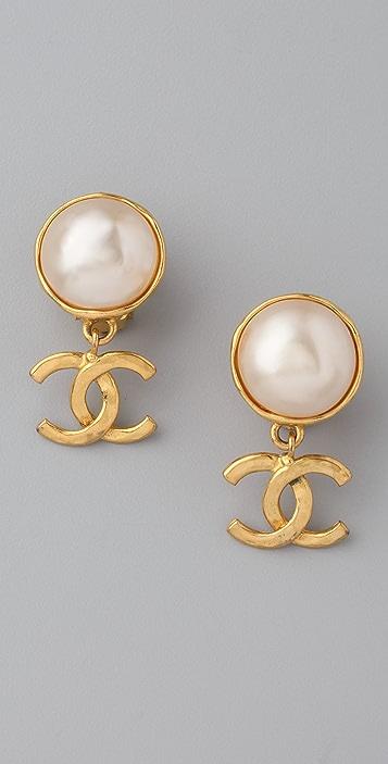 WGACA Vintage Vintage Chanel CC & Pearl Earrings