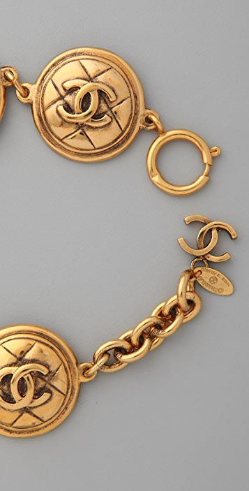 WGACA Vintage Vintage Chanel '80s CC Quilted Coin Bracelet