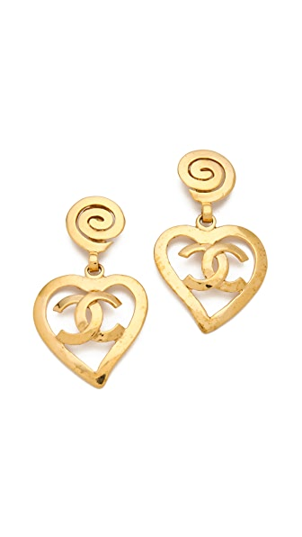 WGACA Vintage Vintage Chanel CC Heart Drop Earrings