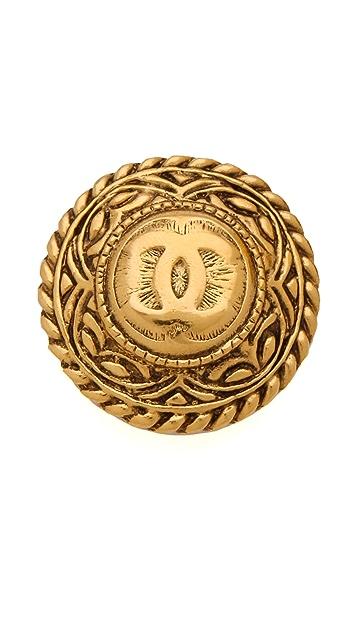 WGACA Vintage Vintage Chanel CC Wheat Motif Earrings