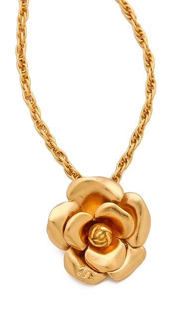 WGACA Vintage Vintage Chanel Camelia Flower Necklace