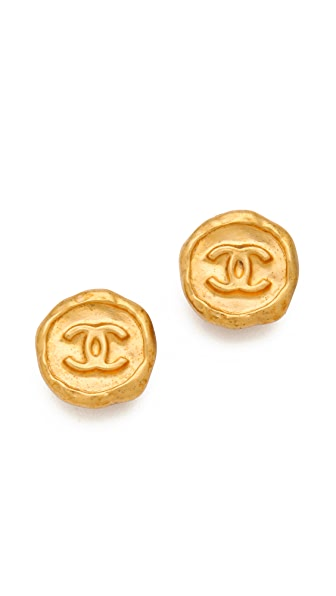 WGACA Vintage Vintage Chanel CC Stud Earrings