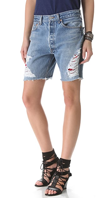 WGACA Vintage Shredded Shorts with Bandana Patches