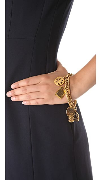 WGACA Vintage Vintage Chanel Plaques & Cut Coin Bracelet