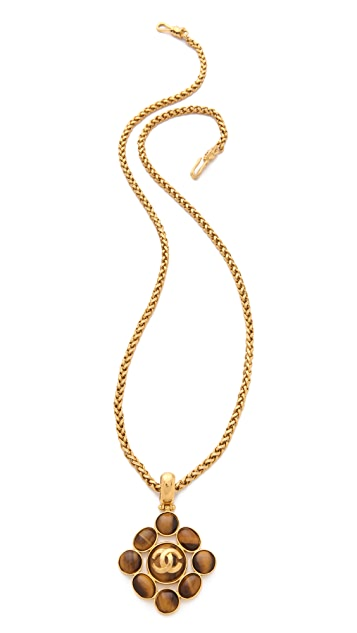 WGACA Vintage Vintage Chanel Tiger Eye Pendant Necklace