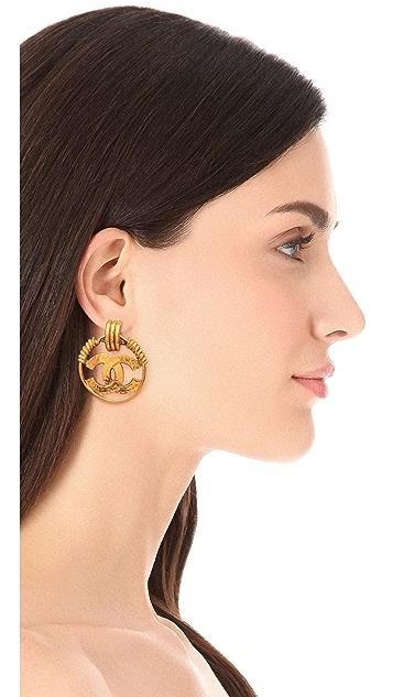 WGACA Vintage Vintage Chanel CC Tri Ring Clip On Hoop Earrings