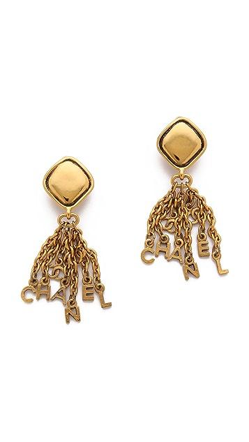 WGACA Vintage Vintage Chanel Letter Drop Clip On Earrings