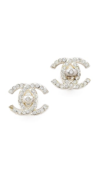 WGACA Vintage Vintage Chanel Rhinestone CC Clip On Earrings
