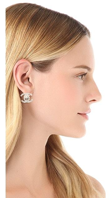 WGACA Vintage Vintage Chanel Rhinestone CC Clip On Earrings