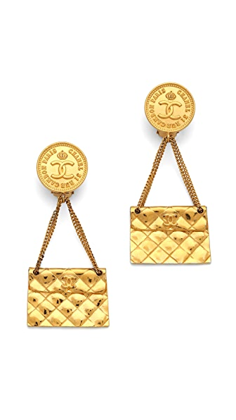 WGACA Vintage Vintage Chanel Cambon Clip On Earrings