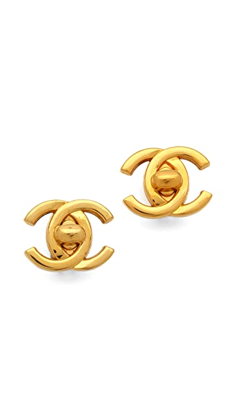 WGACA Vintage Vintage Chanel CC Closure Earrings