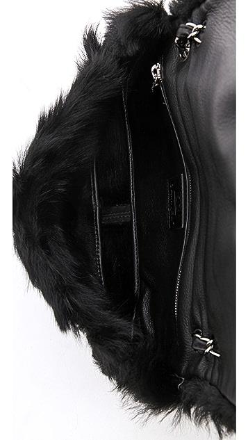 WGACA Vintage Vintage Chanel Shearling Suede Bag