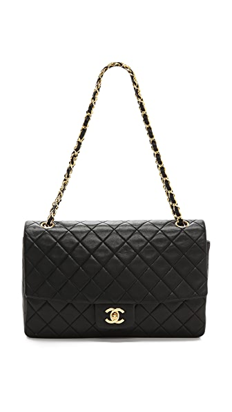 WGACA Vintage Vintage Chanel Black Quilted Half Flap Bag