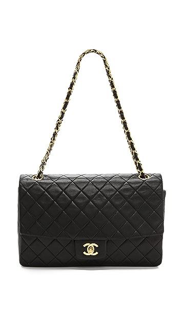 WGACA Vintage Vintage Chanel Black Quilted Half Flap Bag