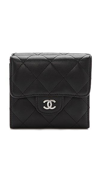WGACA Vintage Vintage Chanel Black Double Flap Wallet