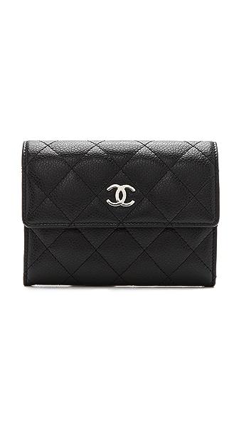 WGACA Vintage Vintage Chanel Black Caviar Quilt Wallet