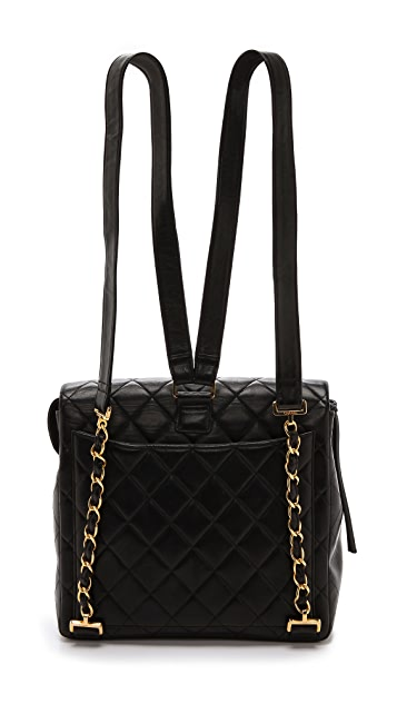 WGACA Vintage Vintage Chanel Quilted Half Flap Backpack