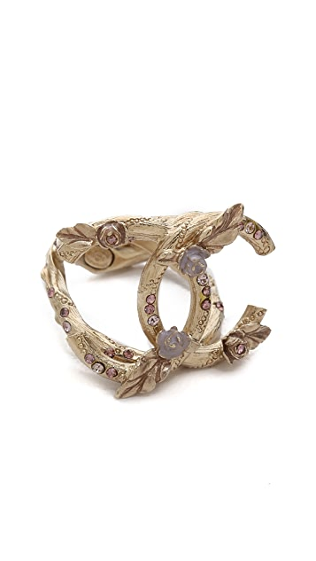 What Goes Around Comes Around Vintage Chanel Flowers & Crystal Ring