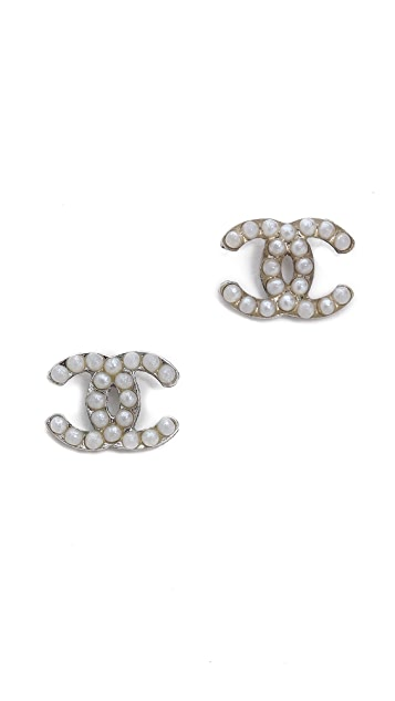 What Goes Around Comes Around Vintage Chanel Faux Pearl Pave Earrings