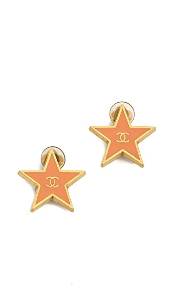 What Goes Around Comes Around Vintage Chanel Star Clip On Earrings