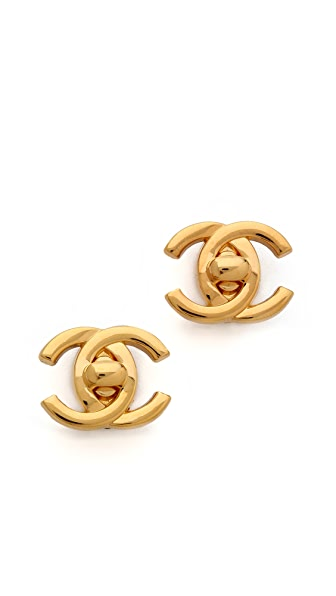 What Goes Around Comes Around Vintage Chanel Turn Lock Clip On Earrings