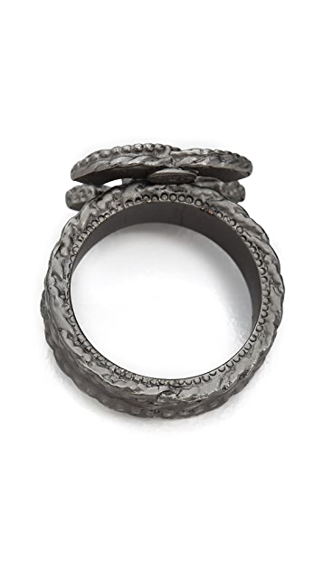 What Goes Around Comes Around Vintage Chanel Brushed Metal CC Ring