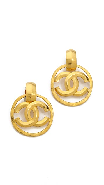 What Goes Around Comes Around Vintage Chanel CC Clip On Earrings