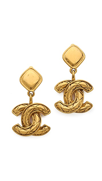 What Goes Around Comes Around Vintage Chanel Quilted CC Drop Earrings