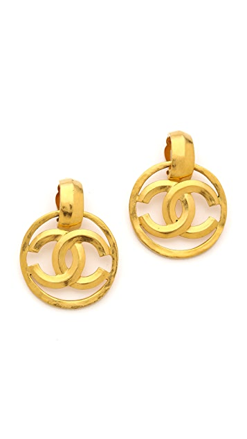 What Goes Around Comes Around Vintage Chanel CC in Circle Clip On Earrings