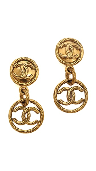 What Goes Around Comes Around Vintage Chanel Rope CC Round & Drop Clip On Earrings