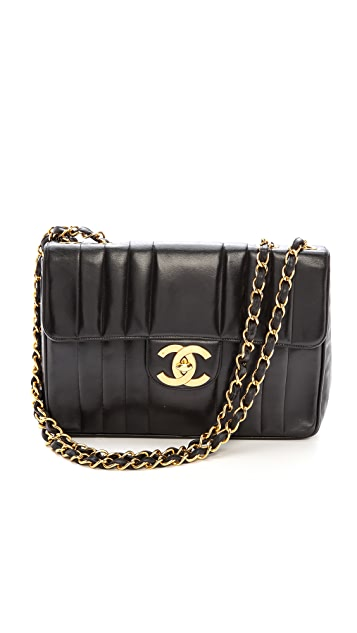 What Goes Around Comes Around Chanel Vert Stitch Jumbo Bag